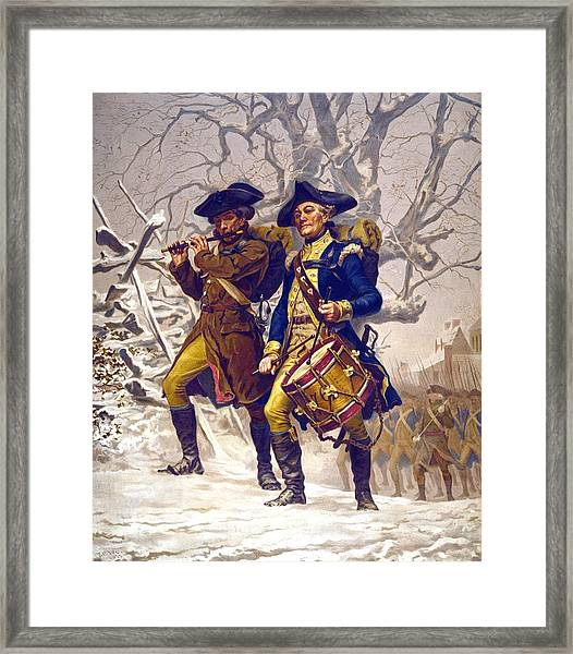 Continental Army Color Guard, Playing Framed Print