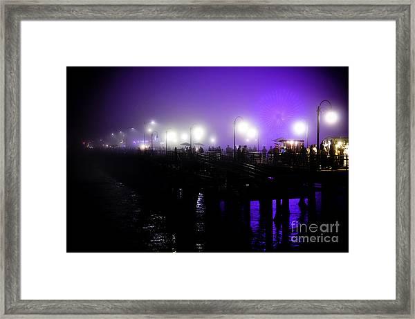Cool Night At Santa Monica Pier Framed Print