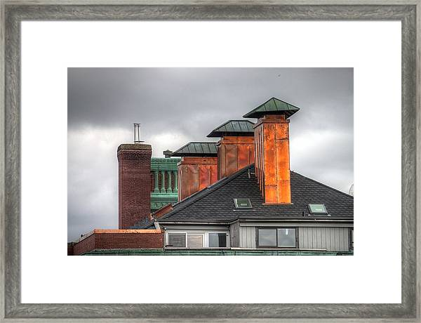 Copper-lined Chimneys On A Grey Sky Framed Print by Matthew Green