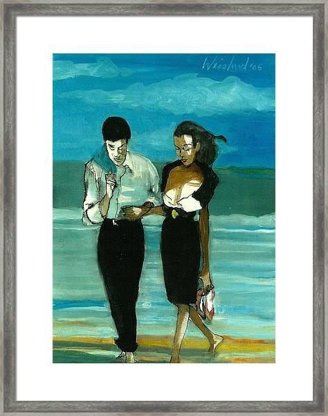 Couple On Beach In Black  3d Framed Print by Harry WEISBURD