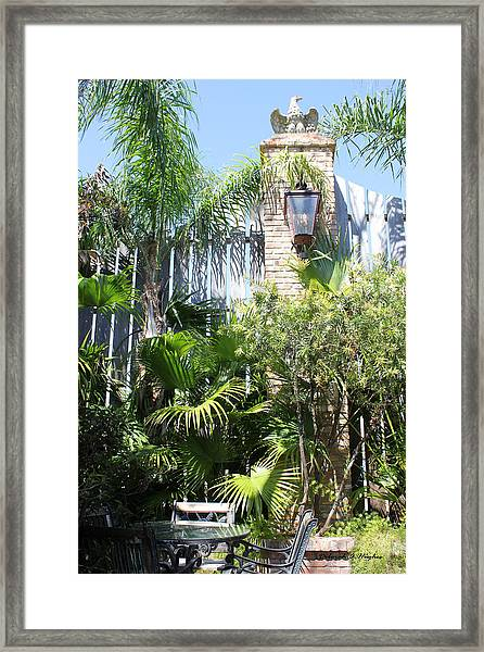 Courtyard Lunch Framed Print