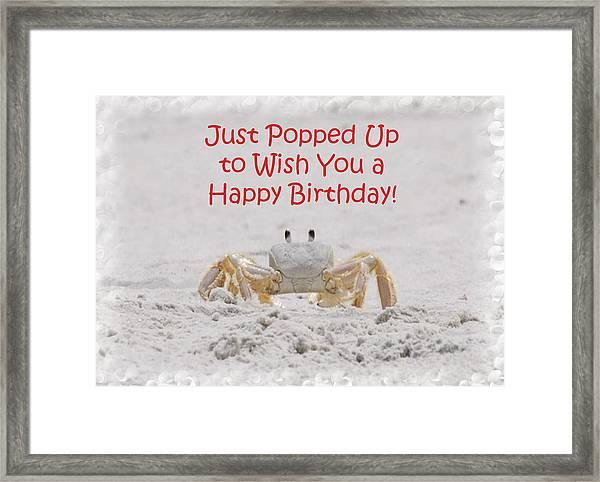 Crab Happy Birthday Framed Print