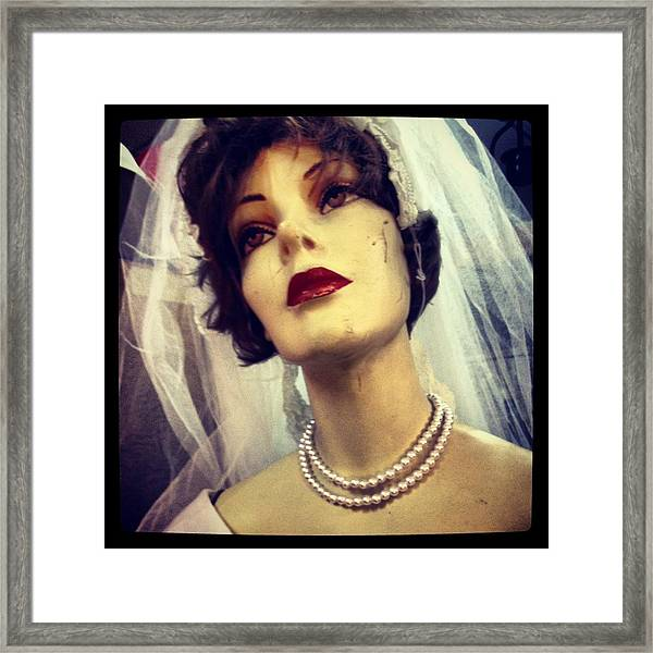 Creepy Vintage Bride Framed Print