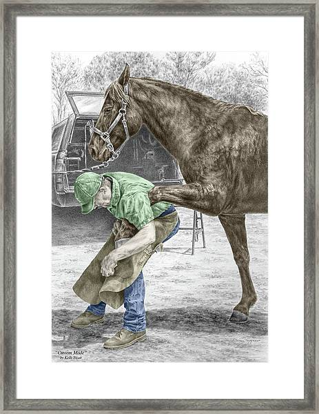 Custom Made - Farrier And Horse Print Color Tinted Framed Print