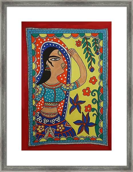 Dancing Woman Framed Print by Shakhenabat Kasana