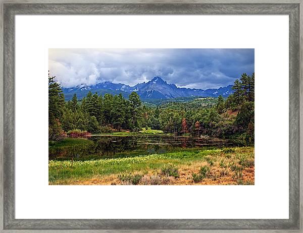 Dark Mountain Lake Framed Print