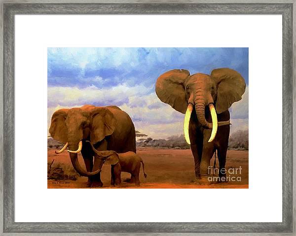 Desert Elephants Framed Print