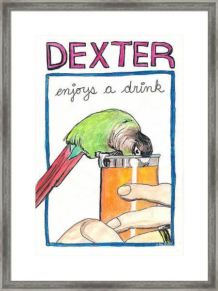 Dexter Enjoys A Drink Framed Print