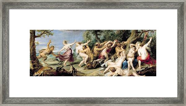 Diana And Her Nymphs Surprised By Fauns Framed Print