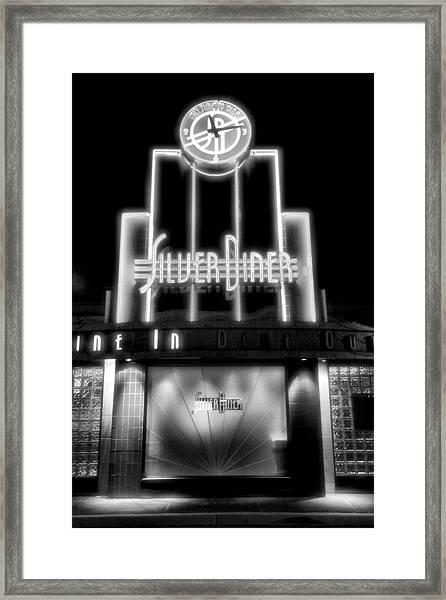 Diner At Night Framed Print by Steven Ainsworth