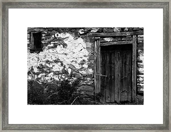 Door  Window And The Wall  Framed Print