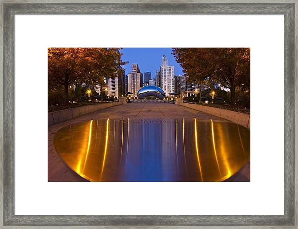 down the aisle toward Cloudgate Framed Print