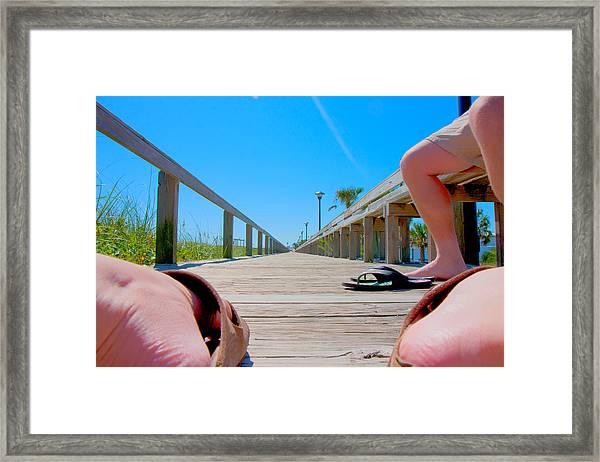 Down The Deck Framed Print