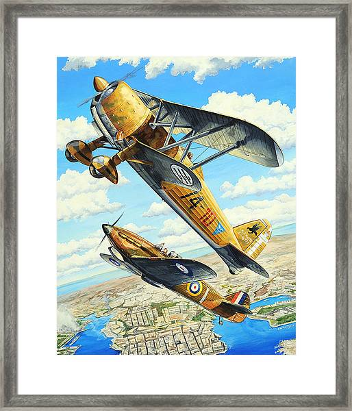 Duel Over Malta Framed Print by Charles Taylor