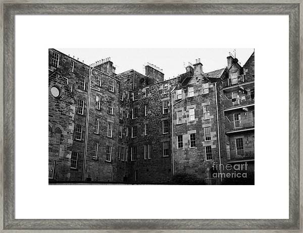 Edinburgh Close Square Tenement Buildings Typical Architecture In The Old Town Scotland Uk United Ki Framed Print