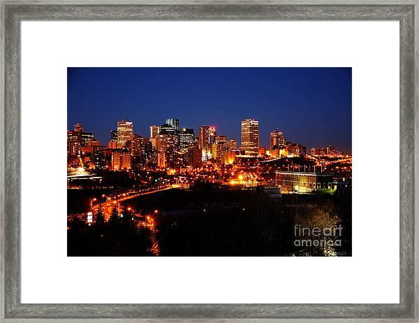 Edmonton Skyline Framed Print by Rachel Duchesne