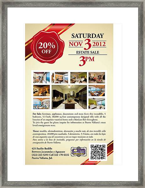 Estate Sale Flyer Framed Print by Unique Consignment