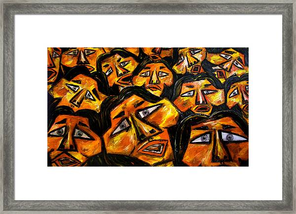 Faces Yellow Framed Print