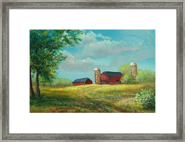 Red Barns Framed Print