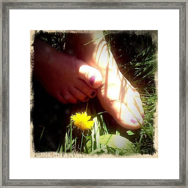 Feet In Grass - Summer Meadow Framed Print