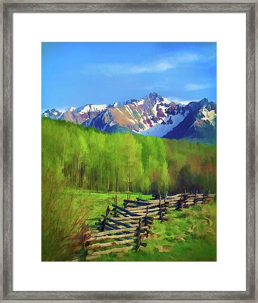 Fenceline Mountains Framed Print