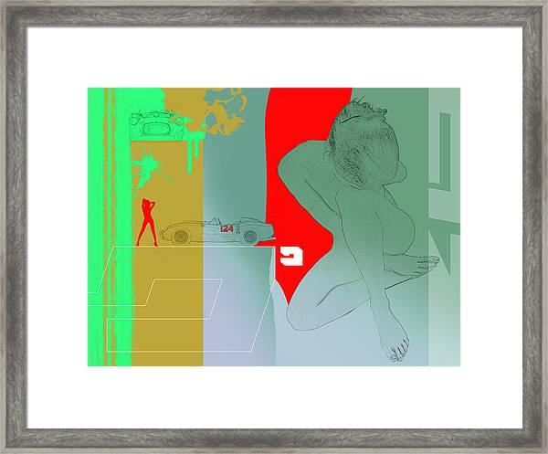 Ferrari And A Girl Framed Print