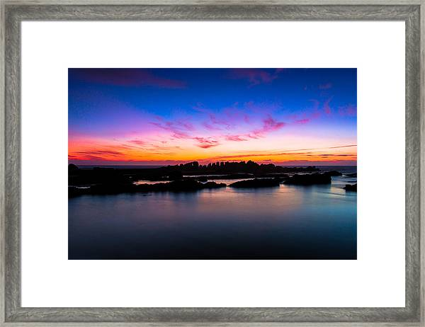 Figures To Sunset Framed Print