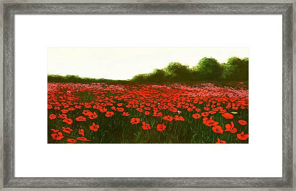 Framed Print featuring the painting Fine Art Oil Painting Poppies Emerald Isle by G Linsenmayer