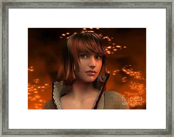 Fire Lady 3d Framed Print