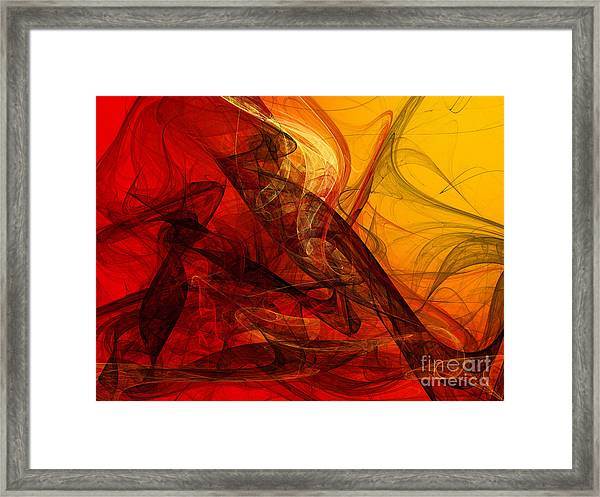 Flaming Fractals On Red And Gold Framed Print
