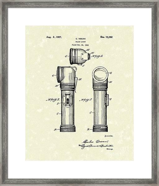 Flash Light 1927 Patent Art  Framed Print
