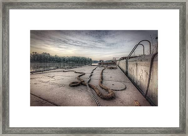 Flatboat Takeoff Framed Print