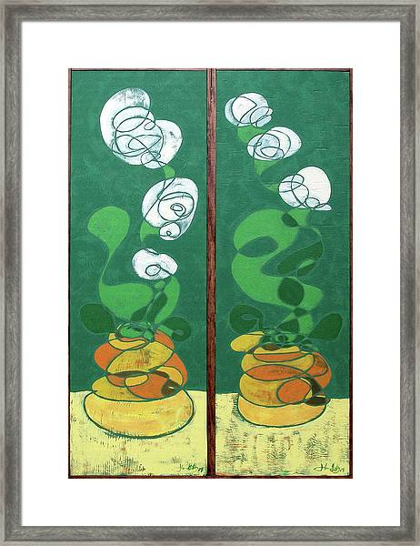 Floral Diptych In Green And Orange Framed Print