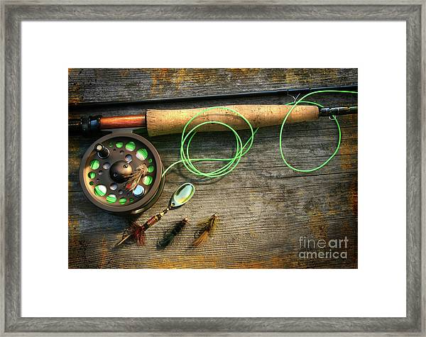 Fly Fishing Rod With Polaroids Pictures On Wood Framed Print
