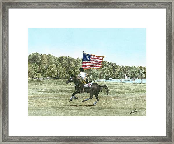 Flying The Colors At A Gallup Framed Print