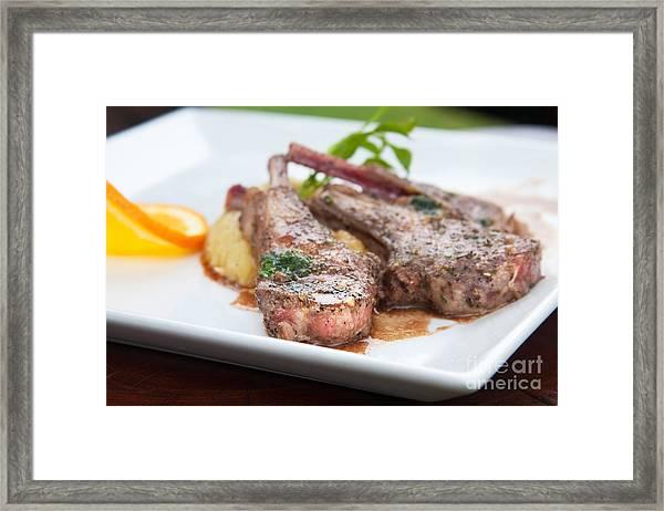 Focus Lamb Steak Framed Print