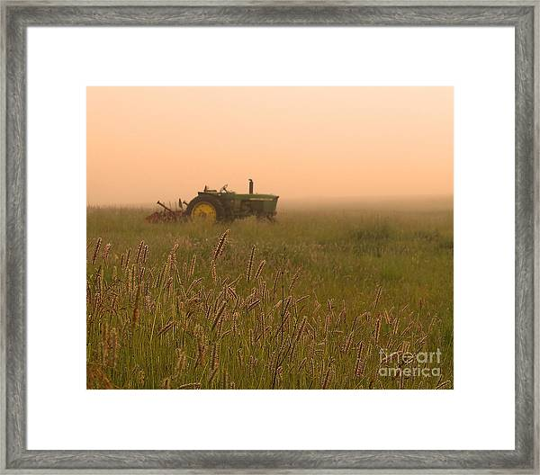 Foggy Morning On The Farm Framed Print
