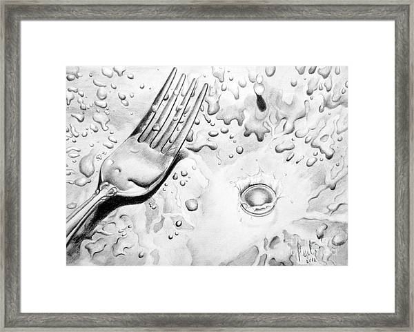 Fork And Drops Framed Print by Eleonora Perlic