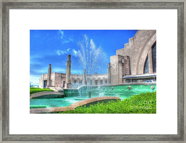 Fountain At The Museum  Framed Print