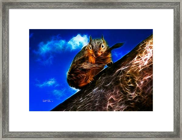 Fractal - How Do You Like My Mustache - Robbie The Squirrel Framed Print