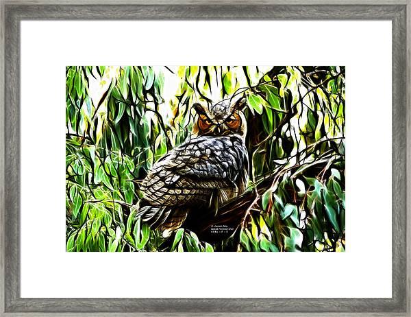 Fractal-s -great Horned Owl - 4336 Framed Print