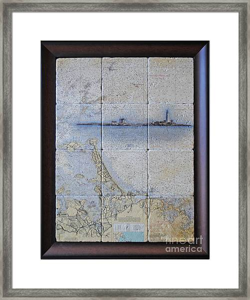 Framed Nautical Chart Of Hingham And Hull With Boston Light  Framed Print
