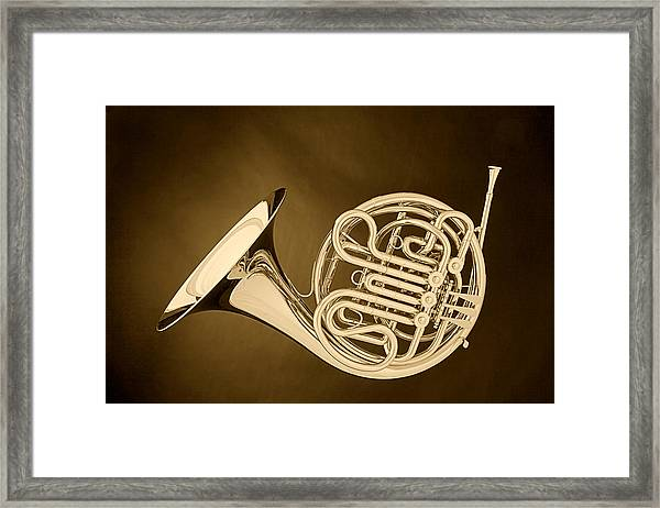 French Horn In Antique Sepia Framed Print