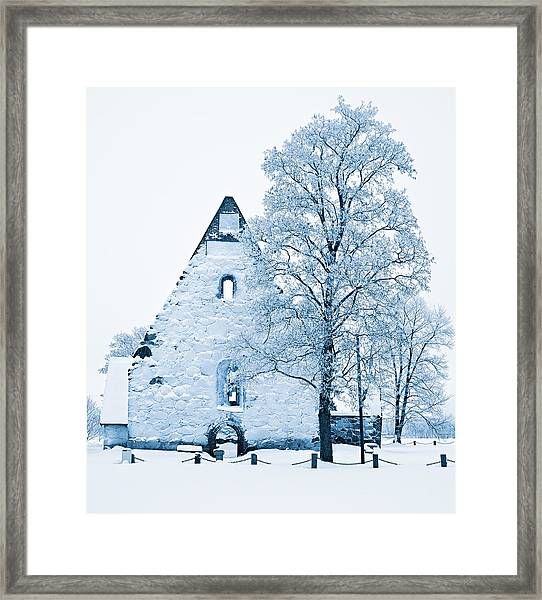 Frosty Ruins Framed Print