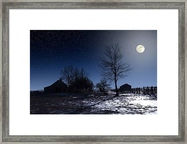 Full Moon And Farm Framed Print