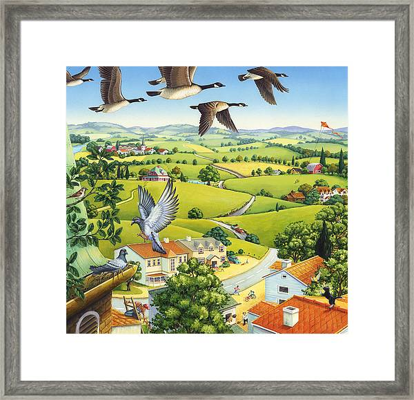 Geese Above The Town Framed Print