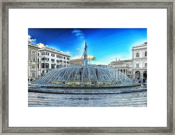 Genova De Ferrari Square Fountain And Buildings Framed Print