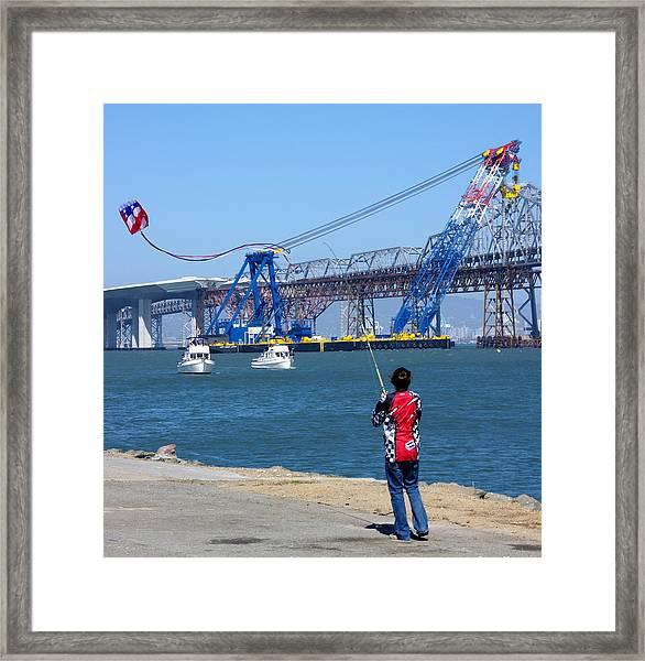 Girl Flying Kite In San Francisco Bay Framed Print