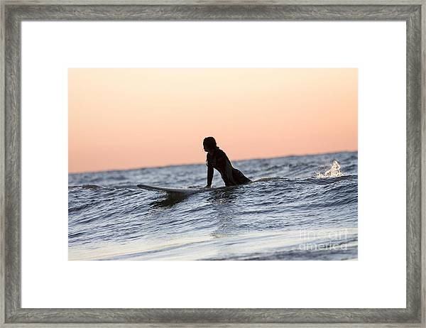 Trying To Catch A Wave Framed Print