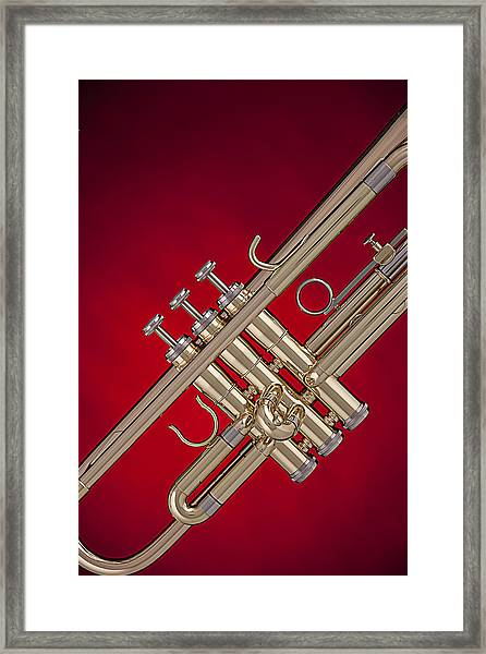 Gold Trumpet Isolated On Red Framed Print